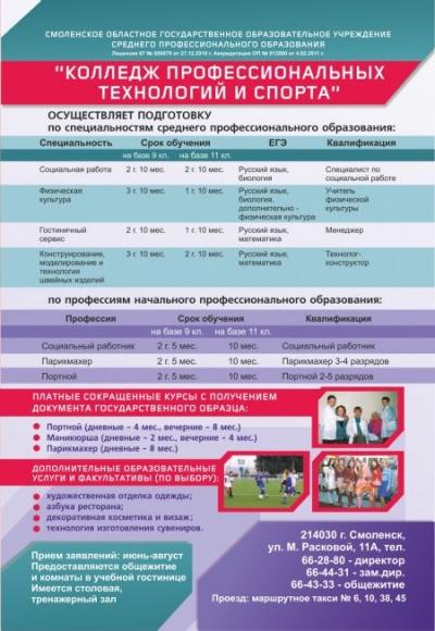 Колледж профессиональных технологий и спорта, СОГОУ СПО